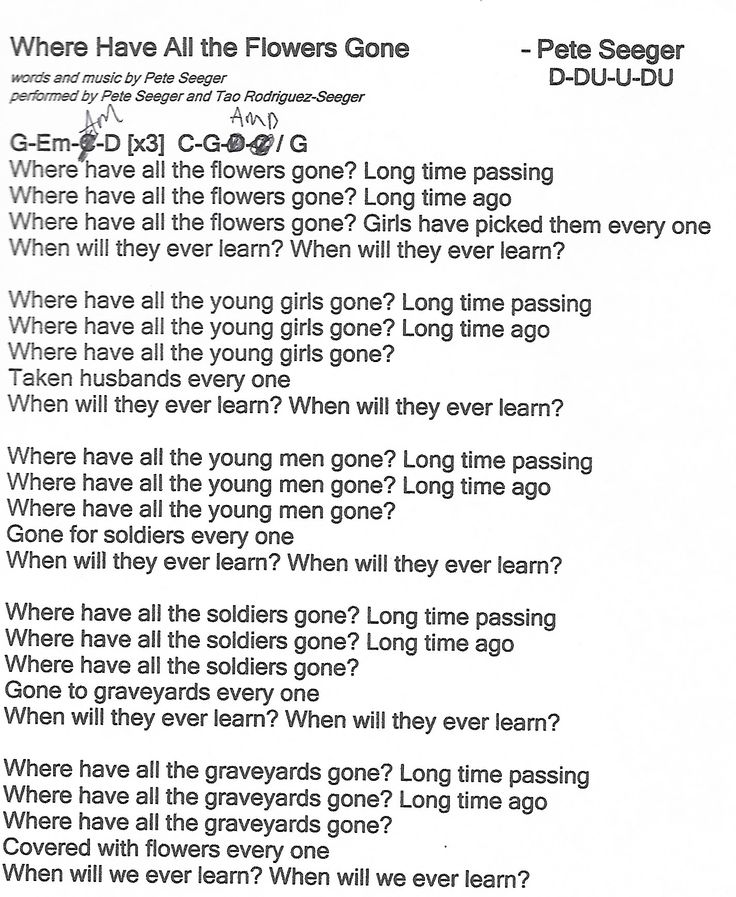 Where Have All The Flowers Gone - Guitar Chord Chart with Lyrics ...