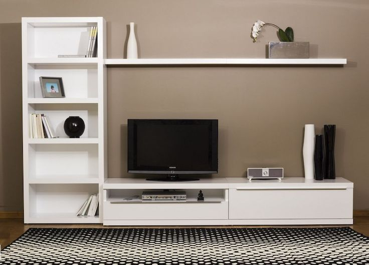 White Lacquered Bookcase and Wall TV Cabinet Design Ideas - Furniture. Wall Cabinet Design Inspirations | Stupic.com