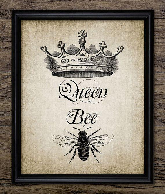 Queen Bee - Queen Bee Wall Art - Illustration de la Couronne de la Reine abeille - Printable Art - unique impression #981 - téléchargement immédiat <<<<<<<<<<<<<<<<<<<< instantanée téléchargement >>>>>>>>>>>>>>>>>>>> Vous recevrez un fichier numérique haute qualité JPG de cette image de la liste - 8 x 10 pouces (300dpi) Veuillez noter que ceci est une image de haute résolu...