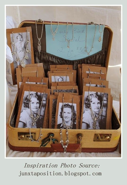 Jewelry Displayed in a vintage suitcase> Use Vintage photos for display cards with your business info printed on the back