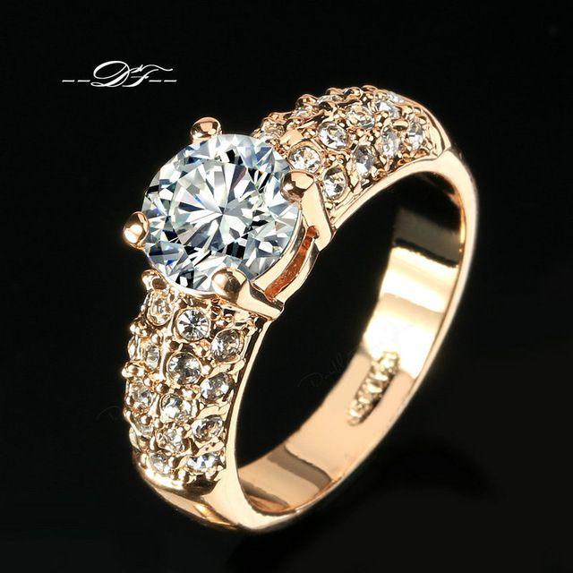 Engajamento Anéis de Casamento CZ Diamante 18 K Rose Banhado A Ouro Marca de Moda Jóias Anel de Strass Para As Mulheres anel Atacado DFR105