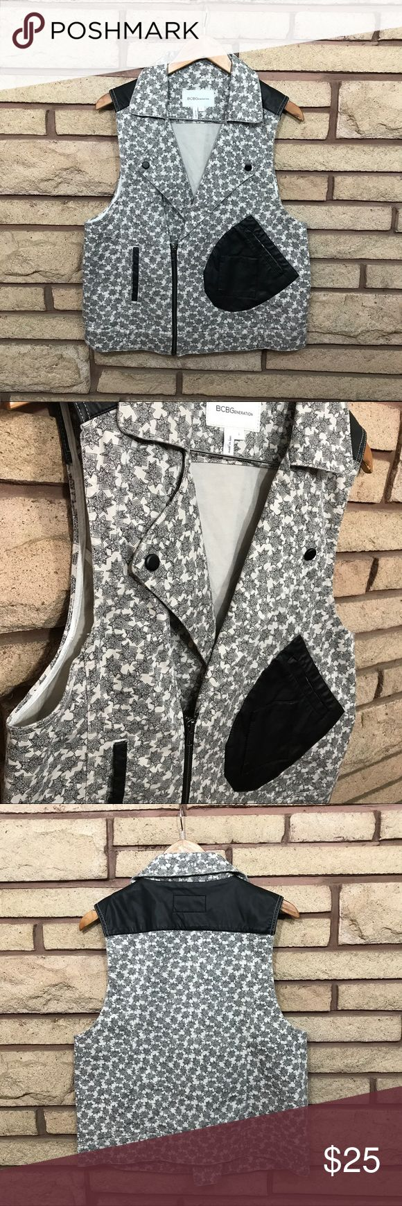 Fun Patterned Vest 🌑Star patterned BCBGeneration vest   🌘Showing no signs of wear    🌗Material: 97% cotton 3% spandex 🌖Dimensions: 20in bust, 25in top of collar to bottom  🌕Offers Welcome 🌔Fast shipping 🌓Sorry, no trades 🌒Bundle and save 30% off two or more items 🌑Free gift with every purchase BCBGeneration Jackets & Coats Vests