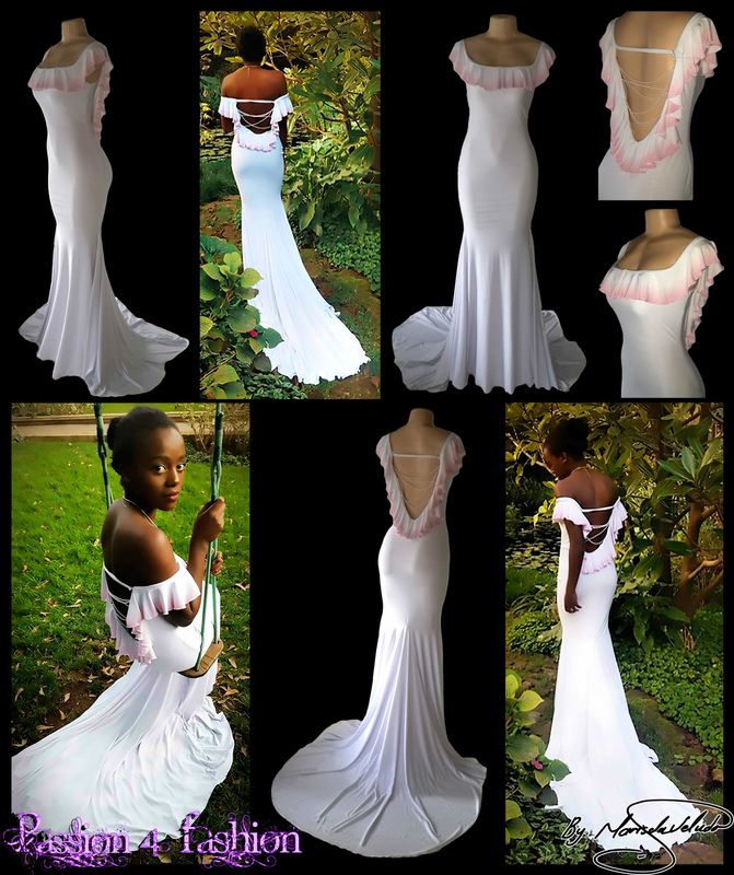 White, with a touch of pink, soft mermaid matric farewell dress. With a low open back, off shoulder or on shoulder neckline with a custom printed ombre pale pink frill around the neckline. Open back detail with strings of white pearls. Matric Dance Dress 2016. Matric Farewell Dress 2016. Prom Dress 2016.
