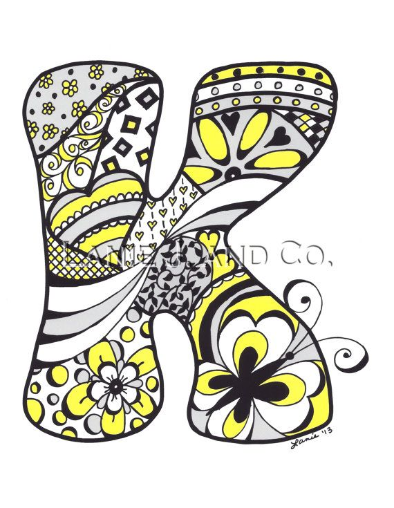 Letter K , 8 x 10 Art Print Yellow Personalized Doodle Monogram Illustration For Decor, Baby, Kids, Teacher