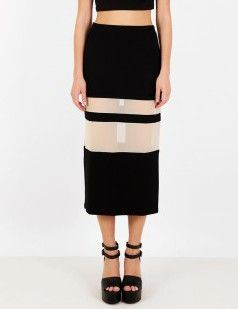 Mesh paneled pencil midi skirt - Black & Nude/Neutrals-18 euros
