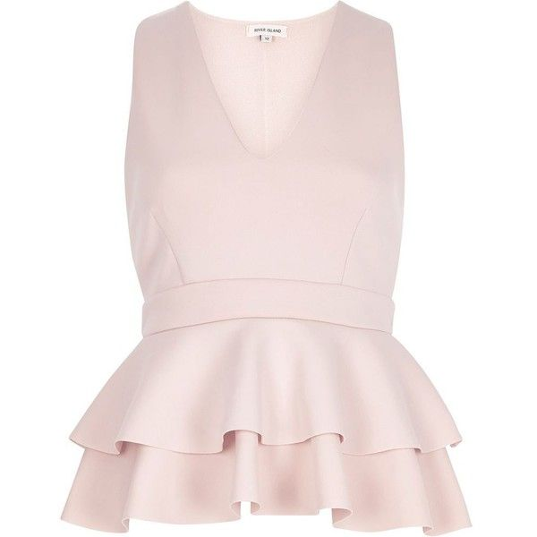 River Island Light pink double peplum top (£20) ❤ liked on Polyvore featuring tops, t-shirts, river island, tank tops, pink, sale, tall t shirts, long tee, peplum t shirt and layered tops