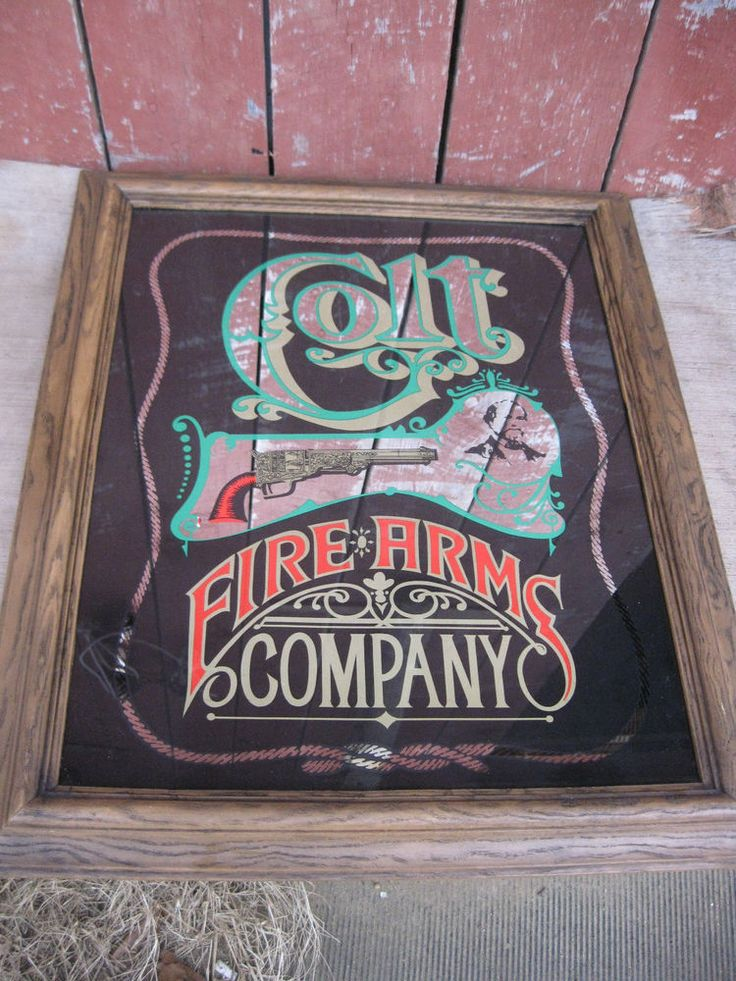 COLT FIRE ARMS COMPANY BAR MIRROR FRAMED IN FAUX-WOOD 19 1/2 x 23 1/2 #COLTFIREARMS #MIRROR