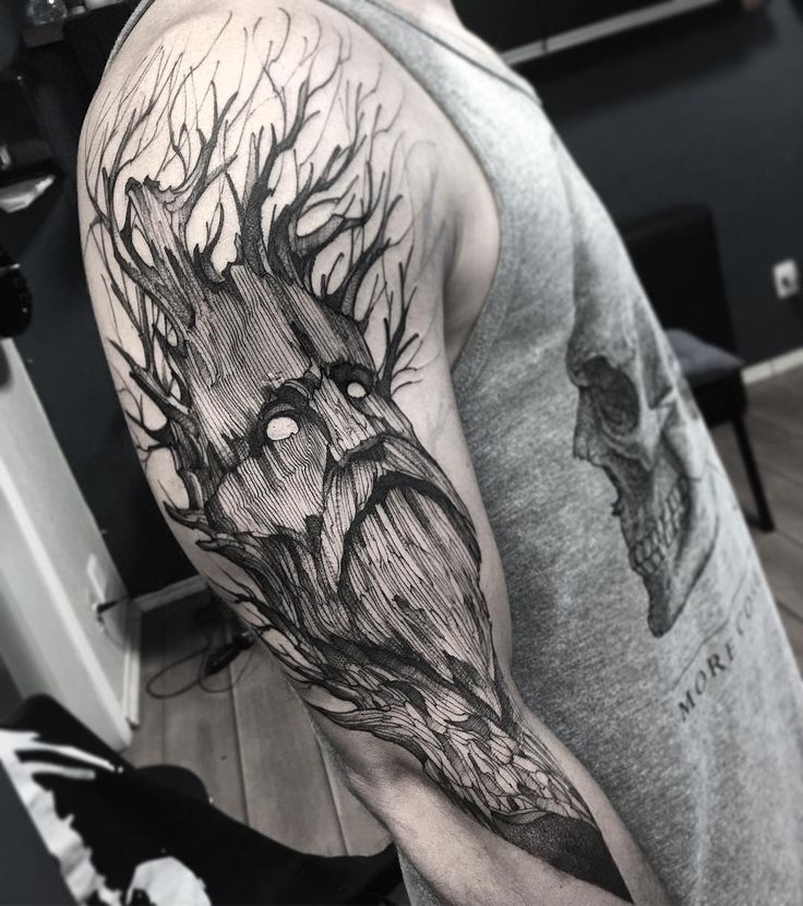 Tree man sketch style tattoo by Fredao Oliveira.   The lines are irregular and there is a general messiness to these sketch style tattoos that make them the epitome of originality and creativity. Enjoy!