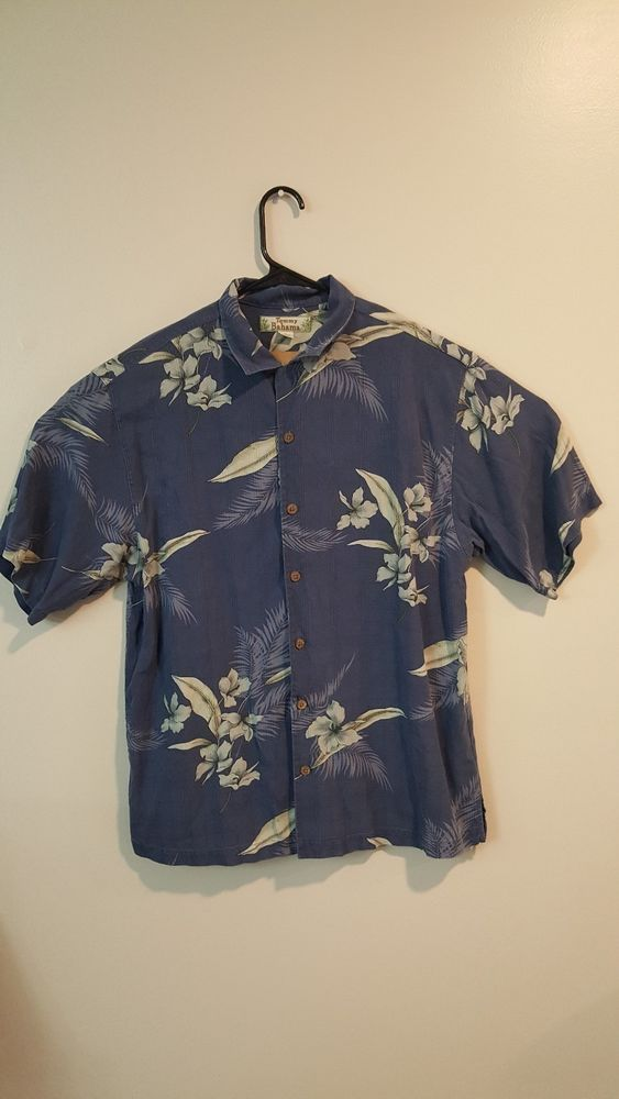 c37642085 Tommy Bahama Mens Medium Blue Silk Floral Short Sleeve Button Down Shirt  #fashion #clothing #shoes #accessories #mensclothing #shirts (ebay link)