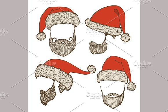 Santa Hats And Beards Hipster Design How To Draw Hands Hats