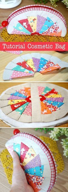 How to make tutorial cosmetic bag purse fabric sewing quilt patchwork. DIY Tutorial in Pictures. http://www.handmadiya.com/2015/10/patchwork-cosmetic-bag.html                                                                                                                                                                                 More