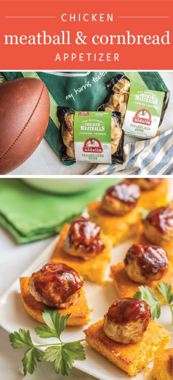Cheer on your favorite team in the big game with an appetizer idea that's sure to score. This Chicken Meatball and Cornbread party dish is easy, packed with flavor, and even contains convenient ingredients. Made with Aidells Caramelized Onion Meatballs, tackling your game day menu couldn't be tastier. Find everything you need to make your homegating party the best yet by heading to your local Harris Teeter grocery store.