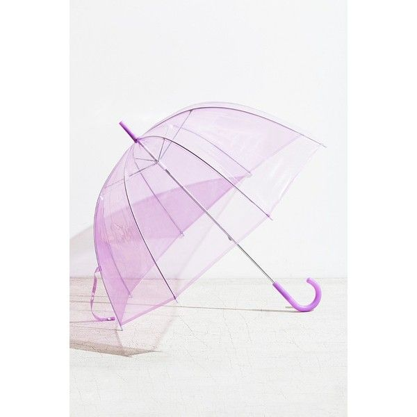 Tinted Bubble Umbrella ($24) ❤ liked on Polyvore featuring accessories, umbrellas, purple, see through umbrella, purple umbrella, transparent umbrella, bubble umbrella and plastic umbrella
