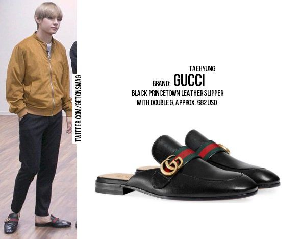 9c415b4a7 TAEHYUNG #BTS 171226 Run BTS! epi. 33 #TAEHYUNG #태형 #방탄소년단 GUCCI Black  Princetown Leather Slipper With Double Gpic.twitter.com/CcpPYx6Ybx