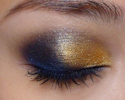 Gold, blue, bronze, a bit of purple and sliver.  Now this is a truly beautiful look forgoing out on the town.