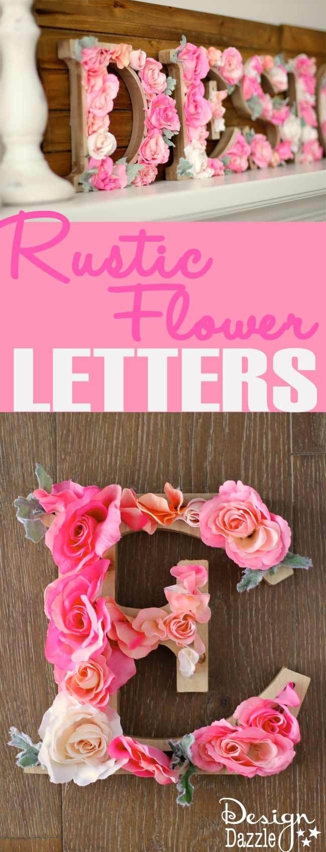 Make your own Rustic Flower Letters. Sweet idea for a nursery, bedroom or craft room. Tutorial on Design Dazzle. #MichaelsMakers