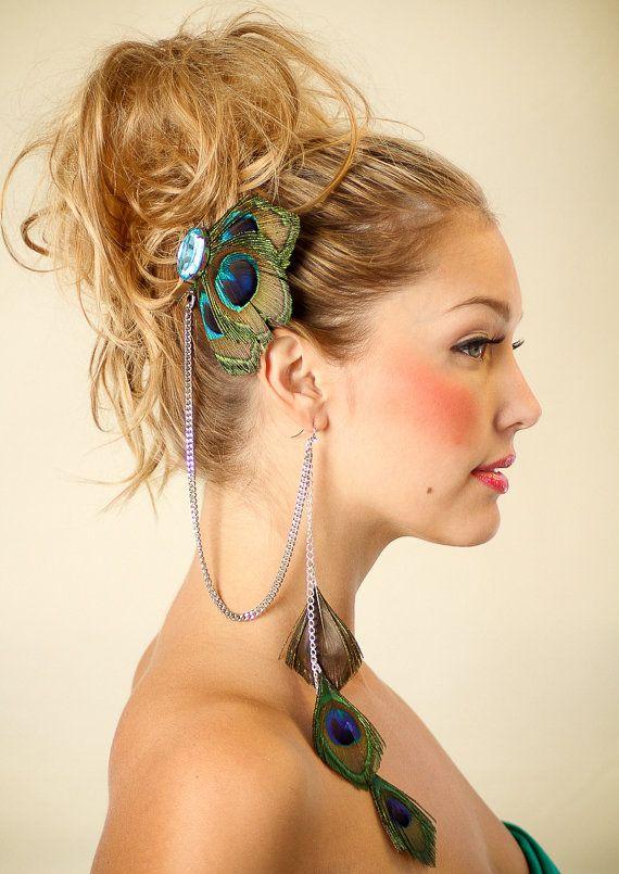 mode-accessoires veer kwast oorbellen veer haarspeld een stuk ketting haar accessoire clip(China (Mainland))
