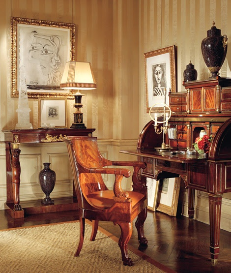 Some Biedermeier furniture was heavy and massive, with carvings.