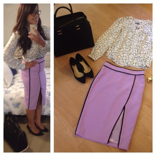 Day #8 - 'Woman on the go'   Repeat & Style this short in many different ways with pairing it up with a pencil skirt. Brighten hump day with a pastel purple hue.  Perfect for ladies in the office, teaching or in advertising.  Shirt by - @sheikeandco  Skirt by - @sheikeandco  Bag by - @hm  Shoes by - @hm  Watch by - @michealkorrs Glasses by - @specsavers   Style tip - Match up with a statement black bag and black pointed pumps to accentuate your figure and let the skirt be your statement.