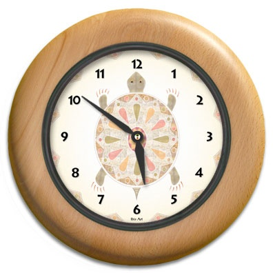 Painted Turtle Round Wood Wall Clock - From our Southwestern Clocks category, this clock features the turtle symbol which is often associated with longevity.  $63.00