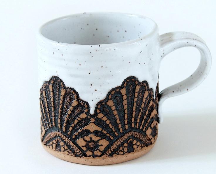 Handmade Moroccan Lace Mug in White. $35.00, via Etsy.