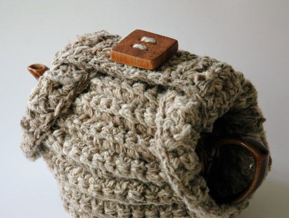 Chunky knit tea cosy natural handspun wool by KororaCrafters