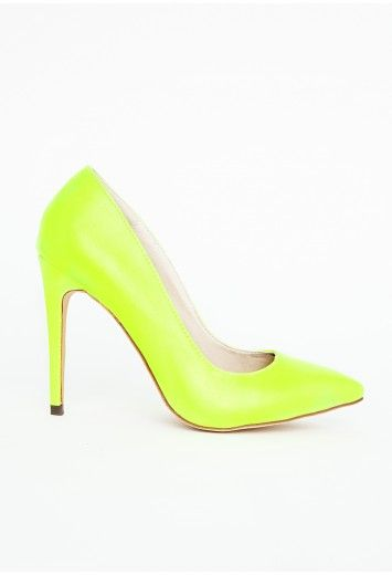 Natalie Court Shoes In Neon Green - Footwear - Heels - Missguided
