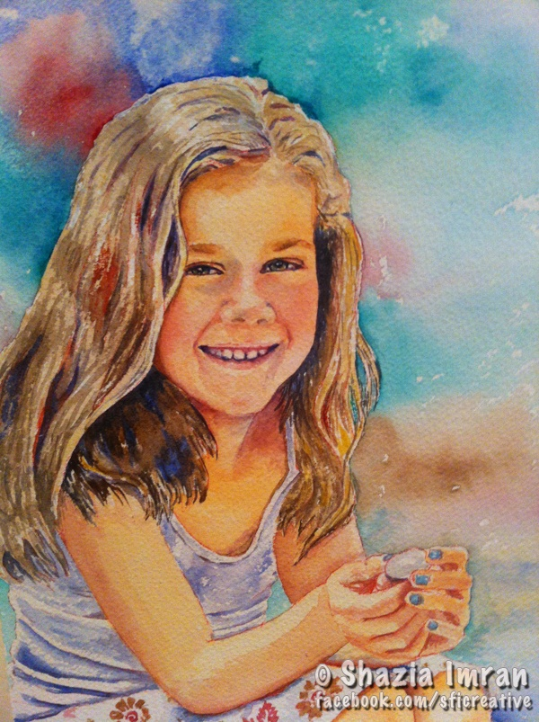 Izzi's portrait  A4 watercolour