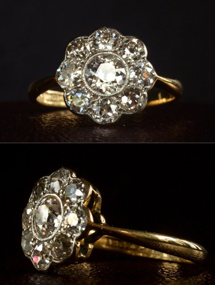 1910-20s English Flower/Cluster Ring, ~1.60ctw European Cut Diamonds18K Gold, Platinum (sold)