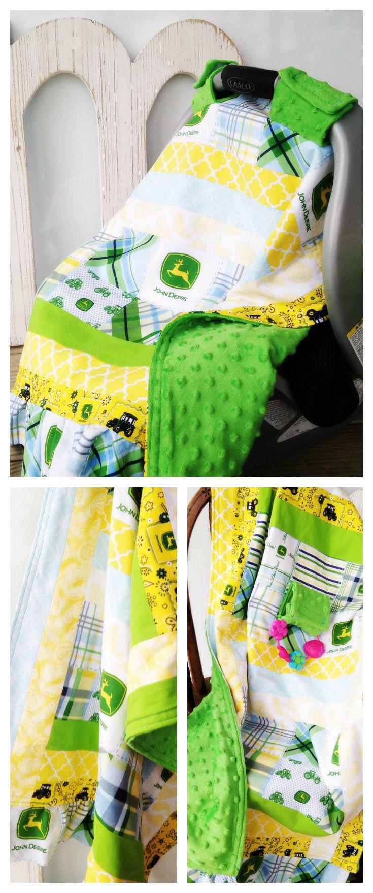 Toddler Teething Quilt & Car Seat Cover, John Deere Nursery, Baby Boy, Blue Green Aqua Yellow Teal Minky, Crib Bedding Blanket, Deer, Farmer, Farm, Toddler Bedroom Room Theme, Canopy, Shower Gift | by Missy Prissy Shop, $45.50