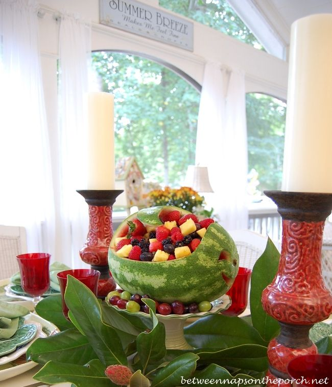 Carved Watermelon Table or Party Centerpiece... perfect for Summer! http://betweennapsontheporch.net