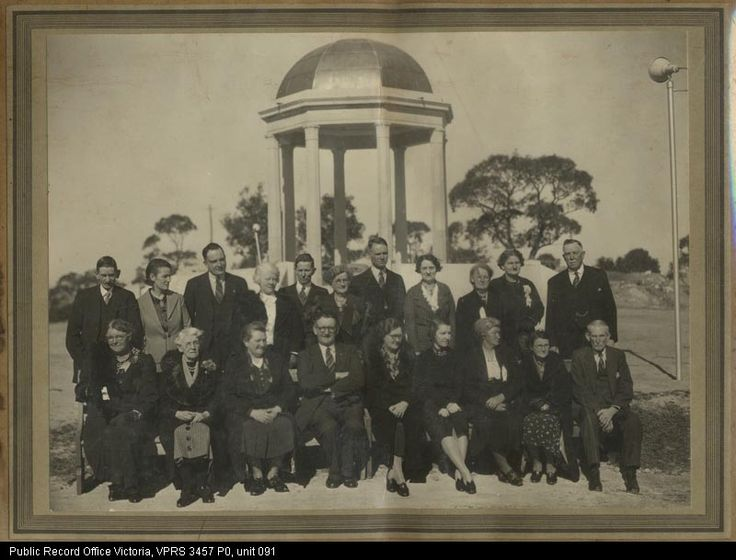 A group of people at the Big Hill monument, Stawell. from the Borough of Stawell's files at PROV.