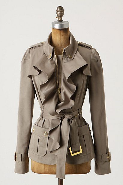 Anthropologie ruffle jacket: Fashion, Femme Trench, Style, Clothing, Trench Jackets, Fall Jackets, Trench Coats, Cute Jackets, Ruffles
