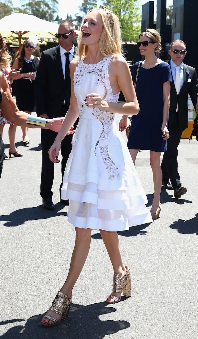 Poppy Delvigne in an elegant and cute #whitedress.