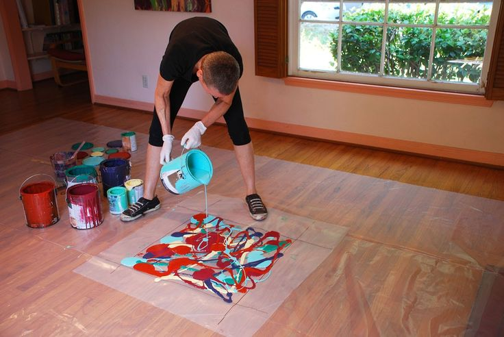 Cassandra Tondro, Abstract Painting Using Leftover House Paint, The Orga...