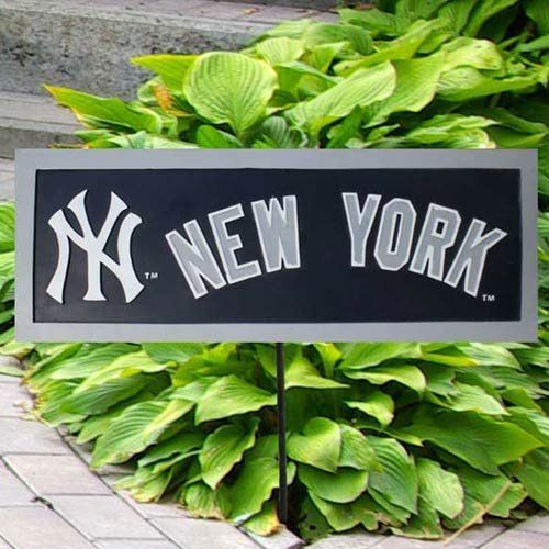 Team Sports America MLB0134-706 Garden Sign by Team Sports America. $14.95. Team:New York Yankees Garden Sign  This garden sign looks great in the flower bed, garden or along a walkway. Team name and logo is cold casted on one side. The sign is painted with team colors and comes with a stake. Made for outdoors with weatherproof resin, but looks great indoors as well.. Save 56% Off!