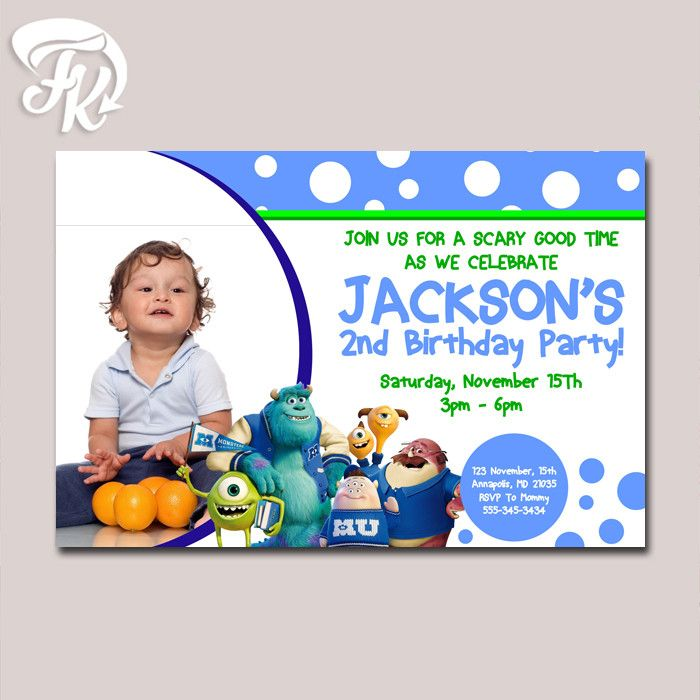Monster University Birthday Card Party Digital Invitation With Photo
