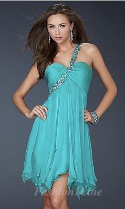 A-Line Chiffon One-Shoulder Short Dress fashion03842