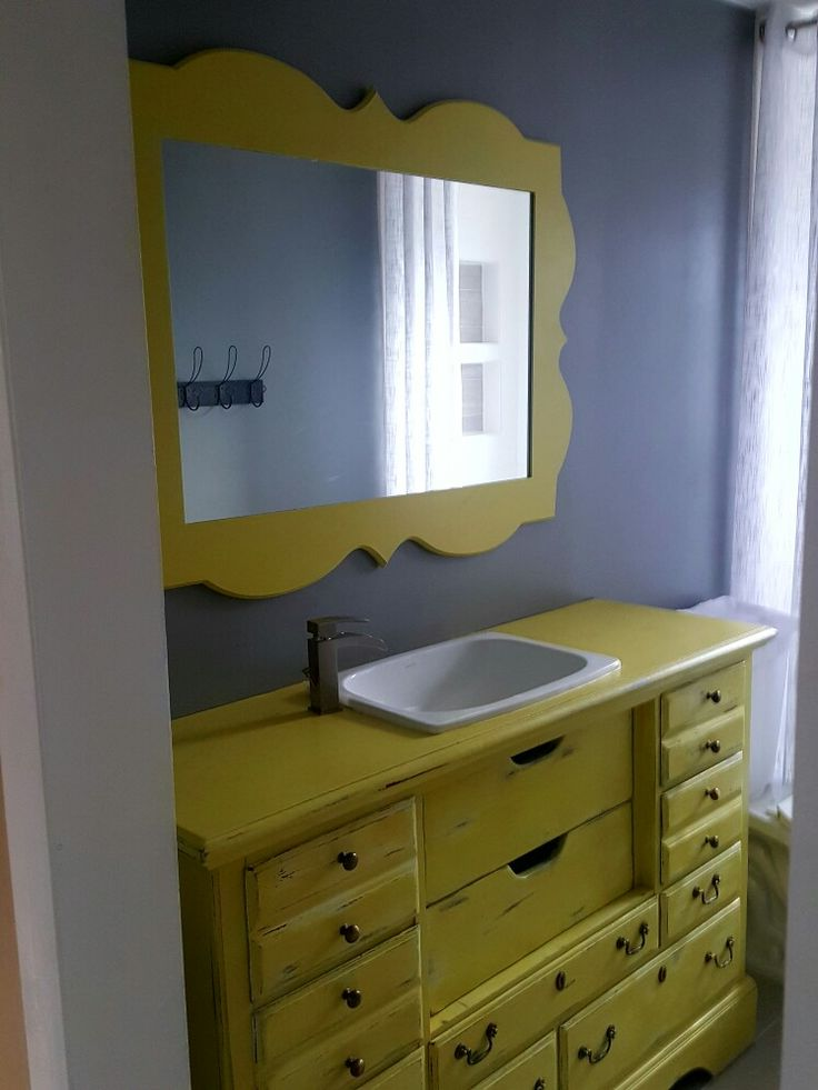 inexpensive dresser repurposed into bathroom vanity