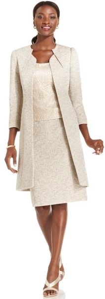 Tahari Suit Metallic Tweed Long Jacket Lace Shell Skirt | Keep the Glamour | BeStayBeautiful