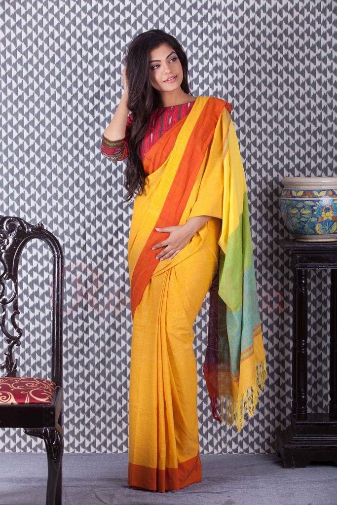 Yellow Khadi Handloom Saree With Orange Border-KCH08500111