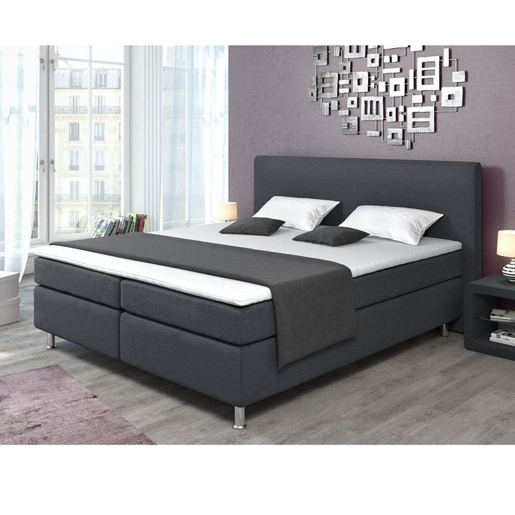 designer boxspringbett bett topper 180x200 cm bonell federkern doppelbett grau ux ui designer. Black Bedroom Furniture Sets. Home Design Ideas