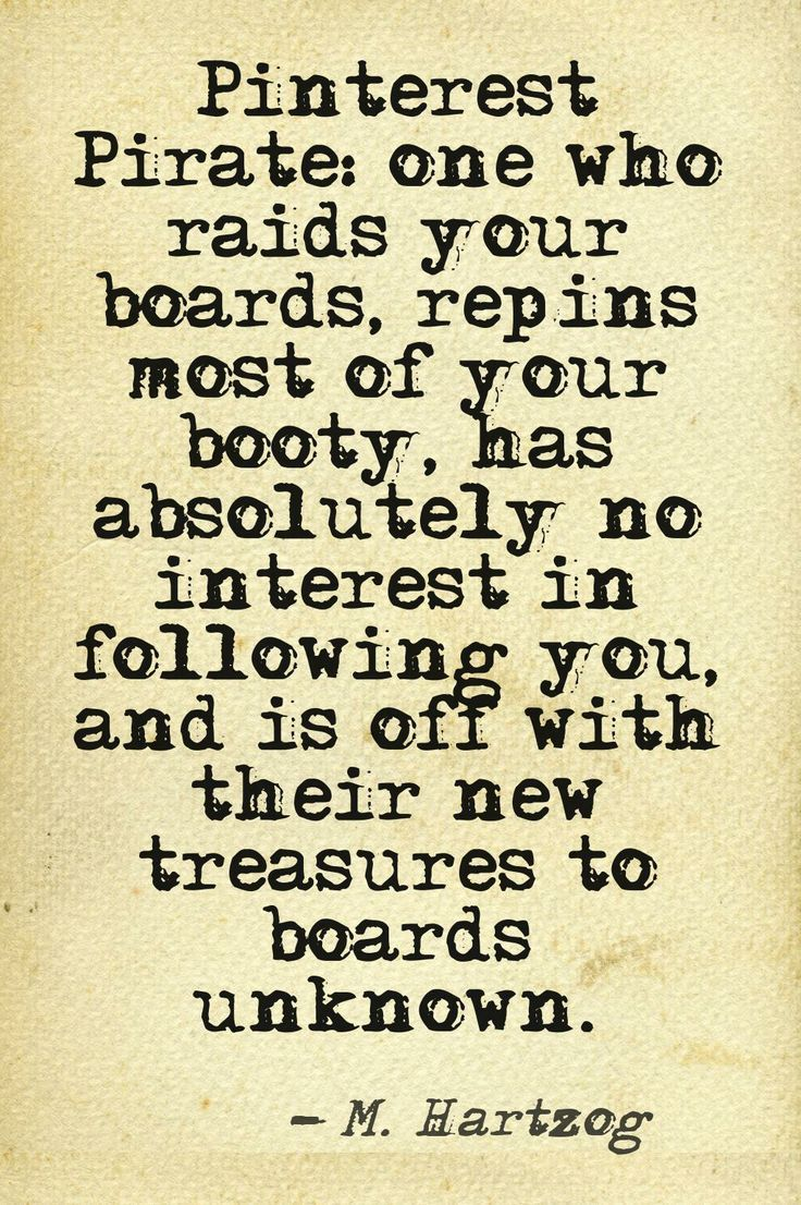 LOL the:  Pinterest Pirate; one who raids your boards, repins most of your booty, has absolutely no interest in following you and is off with their new treasures to boards unknown . -M Hartzog