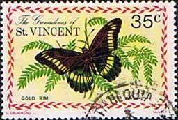 Grenadines of St Vincent 1975 Butterflies Gold Rim Fine Used                    SG 63 Scott 62 Other West Indies and British Commonwealth Stamps HERE!