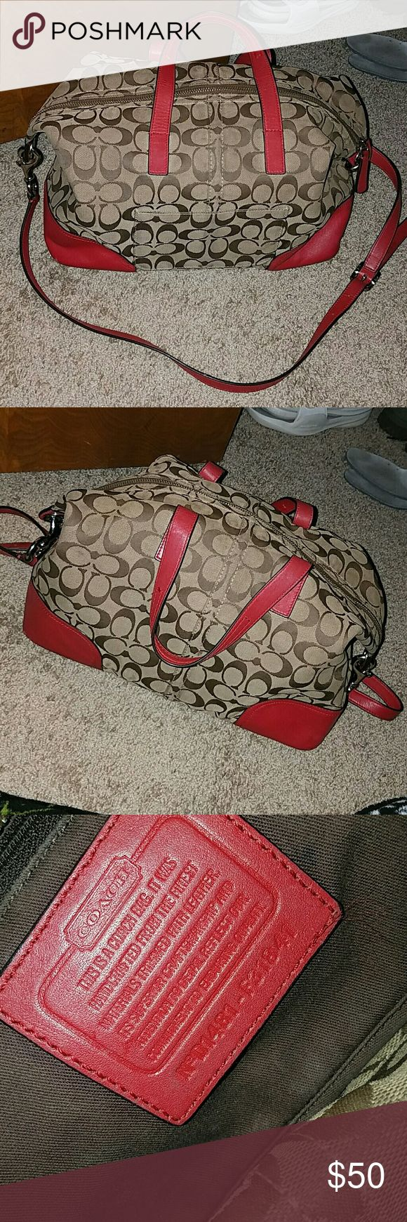 REAL Coach Tote/ Purse REAL Coach Tote/ Purse.  Tan, brown, red. Used. Inside has a few makeup stains, probably can come out. Outside edges have a few marks. Coach Bags Totes