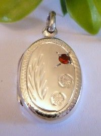 Fashion zilveren medaillon met rode zirkonia  2091
