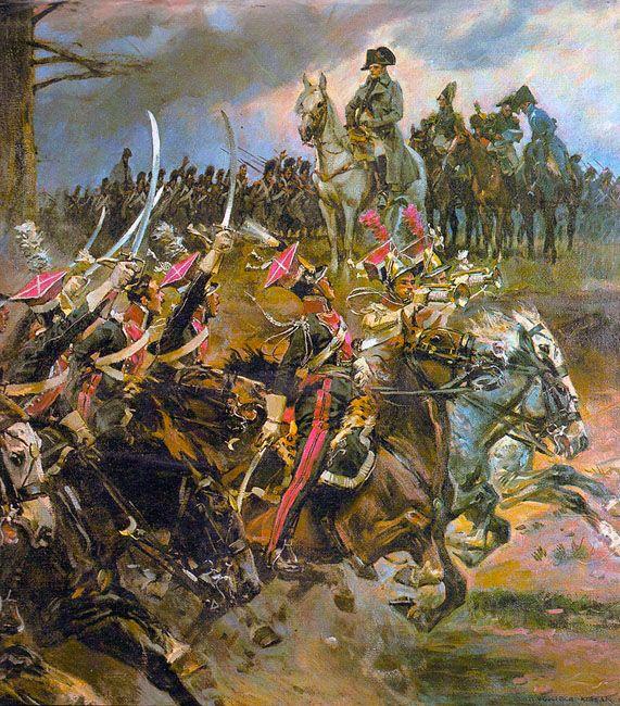 """""""Vivat Cesarz!"""" : Les chevau-légers Polonais acclament Napoléon 1er avant de partir à l'assaut du col de Somosierra"""