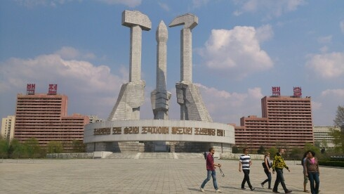 The worker, the intellectual and the farmer. Pyongyang, North Korea