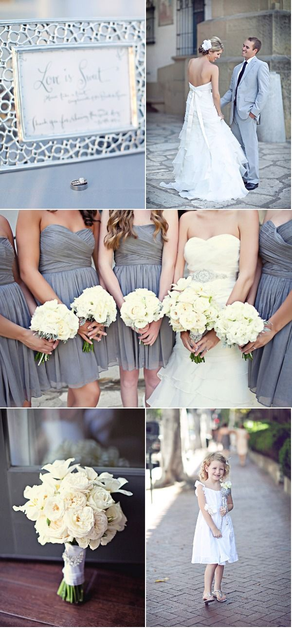 pretty gray dresses: White Flowers, Grey Bridesmaid Dresses, Lights Gray Bridesmaid Dresses, Colors Schemes, Bridesmaid Dresses Colors, Cute Bridesmaid Dresses, Grey Dresses, Blushes Bride, Gray Dresses