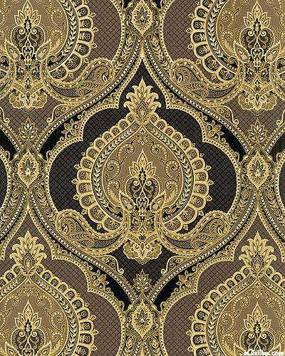 From eQuilter.com - Kensington - Bhodi Blossom Paisley - Slate/Gold